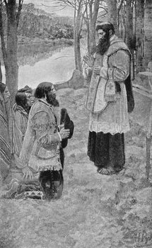 Father Hennepin Celebrating Mass, illustration from 'La Salle and the Discovery of the Great West' by Francis Parkman Reproducere