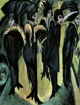 Five women on the street, by Ernst Ludwig Kirchner Reproducere
