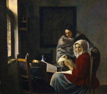 Girl interrupted at her music, c.1658-69 Reproducere