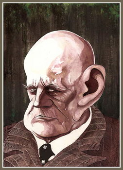 Jean Sibelius, Finnish composer , colour ink caricature, 2003 by Neale Osborne Reproducere