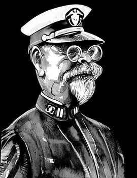 John Philip Sousa, American composer , grey tone watercolour caricature, 1996 by Neale Osborne Reproducere