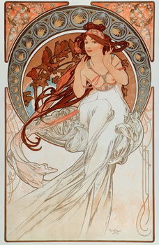 "La musique Lithographs series by Alphonse Mucha , 1898 - """" The music"""" From a serie of lithographs by Alphonse Mucha, 1898 Dim 38x60 cm Private collection Reproducere"