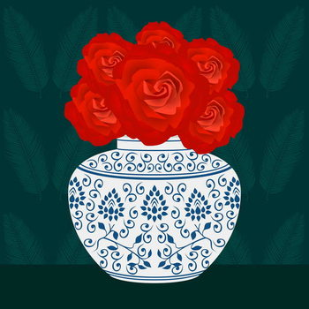 Ming vase with Roses Reproducere