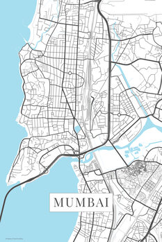 Harta orașului Mumbai white