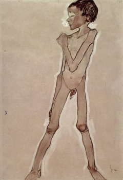 Nude Boy Standing Reproducere