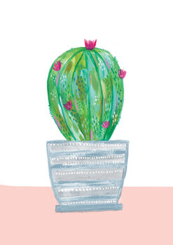 Ilustrare Painted cactus in blue stripe plant pot
