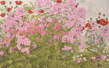 Pink Phlox and Poppies with a Butterfly Reproducere