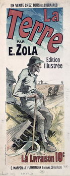 Poster advertising 'La Terre' by Emile Zola, 1889 Reproducere