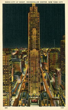 Radio City at night, Rockefeller Center, New York City, USA Reproducere