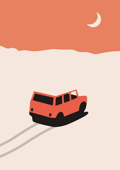 Red Car in Desert with moon Reproducere