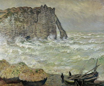 Rough Sea at Etretat, 1883 Reproducere