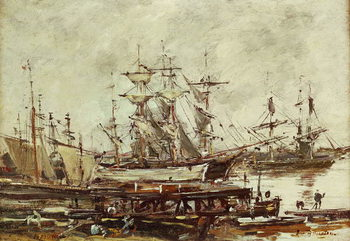 Sailing ships in the port of Bordeaux Reproducere