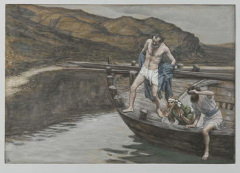 Saint Peter Alerted by Saint John to the Presence of the Lord Casts Himself into the Water, illustration from 'The Life of Our Lord Jesus Christ', 1886-94 Reproducere
