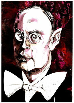Sergei Prokofiev - caricature of the Russian composer Reproducere