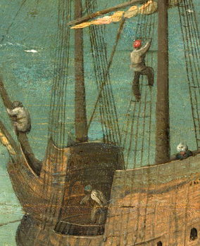Ship rigging detail from Tower of Babel, 1563 Reproducere