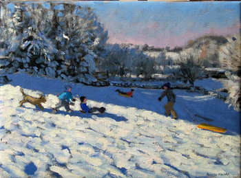 Sledging near Youlgreave, Derbyshire Reproducere