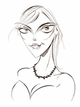 Sophie Dahl, English author and model, sepia line caricature, 2008 by Neale Osborne Reproducere