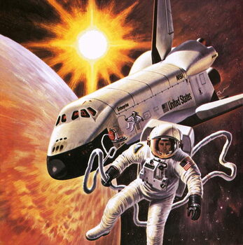 Space suit, as imagined in 1977 Reproducere