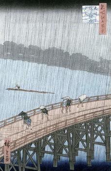 Sudden Shower over Shin-Ohashi Bridge and Atake (Ohashi Atake no Yudachi), from the series 'Meisho Edo Hyakkei' (One Hundred Famous Views of Edo) Reproducere