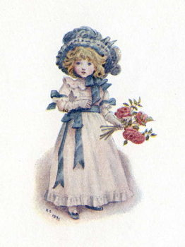 'Taking in the roses' by Kate Greenaway. Reproducere