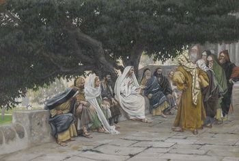 The Pharisees and the Saduccees Come to Tempt Jesus, illustration from 'The Life of Our Lord Jesus Christ', 1886-94 Reproducere