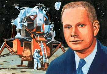 Unidentified American astronaut and moon lander Reproducere