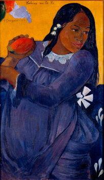Vahine no te vi Tahitian woman holding a mango Reproducere