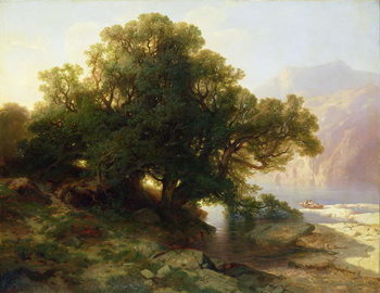 View of Lake Thuner, 1854 Reproducere