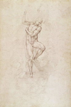 W.53r The Risen Christ, study for the fresco of The Last Judgement in the Sistine Chapel, Vatican Reproducere