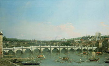 Westminster Bridge from the North with Lambeth Palace in distance Reproducere