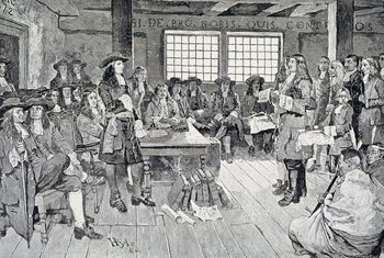 William Penn in Conference with the Colonists, illustration from 'The First Visit of William Penn to America' pub. in Harper's Weekly, 1883 Reproducere