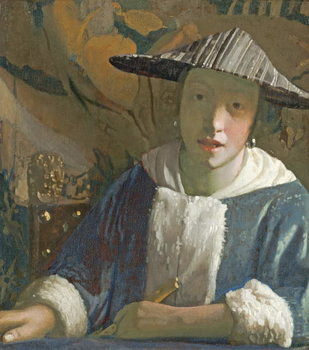 Young Girl with a Flute, c.1665-70 Reproducere