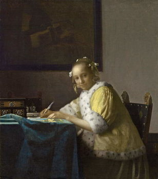 A Lady Writing, c. 1665 Reproducere