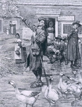 A Quaker Exhorter in New England, illustration from 'The Second Generation of Englishmen in America' by Thomas Wentworth Higginson, pub. in Harper's Magazine, 1883 Reproducere