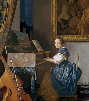 A Young Lady Seated at a Virginal, c.1670 Reproducere