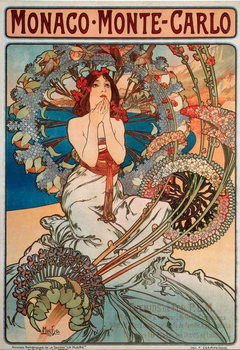 Advertising poster by Alphonse Mucha  for the railway line Monaco, Monte Carlo, 1897 - Dim 74x108 cm Advertising poster by Alphonse Mucha for railway lines between Monaco and Monte Carlo, 1897 - Private collection Reproducere