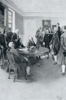 After the Massacre: Samuel Adams Demanding of Governor Hutchinson the Instant Withdrawal of British Troops, illustration from 'Colonies and Nation' by Woodrow Wilson, pub. in Harper's Magazine, 1901 Reproducere