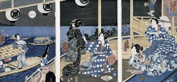 An Autumn Moon over Fukagawa (the pleasure district), from the series 'Azuma Genji' (Prince Genji from the East Capital (Edo) 1856 Reproducere