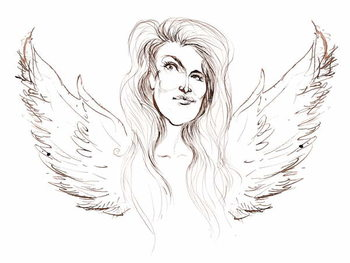 Angela Carter, English novelist and journalist; caricatured with wings in reference to her novel 'Nights at the Circus' Reproducere