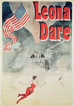 Ballooning: `Leona Dare' poster, 1890 Reproducere