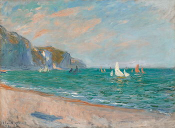 Boats Below the Pourville Cliffs; Bateaux Devant les Falaises de Pourville, 1882 Reproducere