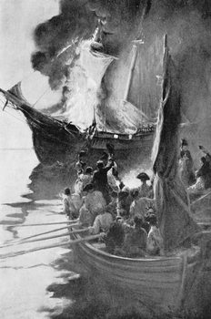 Burning of the 'Gaspee', illustration from 'Colonies and Nation' by Woodrow Wilson, pub. in Harper's Magazine, 1901 Reproducere