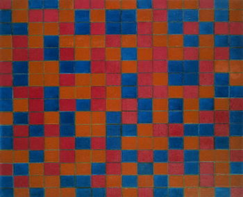 Checker board composition with dark colours, 1919, by Piet Mondrian . Netherlands, 20th century. Reproducere