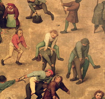 Children's Games (Kinderspiele): detail of children playing leap-frog, 1560 (oil on panel) Reproducere