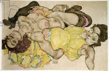Curved women. Drawing by Egon Schiele , 1915 Pencil and tempera on paper, Dim: 32,8x49,7cm. Vienna, Graphische Sammlung Albertina Reproducere