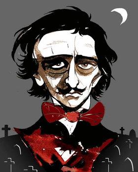 Edgar Allan Poe - colour caricature Reproducere