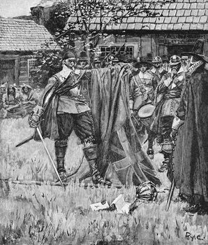 Endicott Cutting the Cross out of the English Flag, illustration from 'An English Nation' by Thomas Wentworth Higginson, pub. in Harper's Magazine, 1883 Reproducere