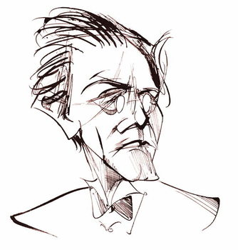 Gustav Mahler, Austrian composer , sepia line caricature, 2006 by Neale Osborne Reproducere