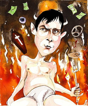 Joe Orton, English author and playwright; caricature with reference to his plays 'Entertaining Mr Sloane' (of 1964) and 'Loot' Reproducere