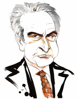 John Banville, Irish novelist and screenwriter; crime writer under the pen name Benjamin Black; caricature with noose tie Reproducere